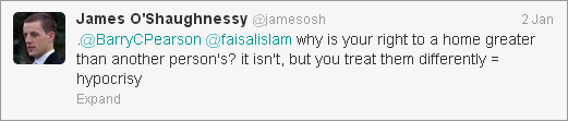 James O'Shaughnessy tweet about rights to home