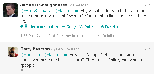 James O'Shaughnessy tweet about rights of unborn